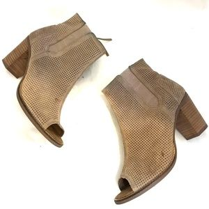 TOMS MAJORCA BOOTIE peep toe ankle boots leather